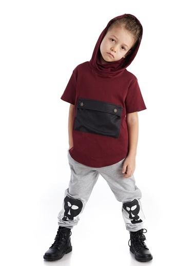 Colorinas Pocket Mask Hoody T-Shirt Bordo